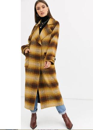 Трендовое горчичное пальто миди в клетку с карманами бойфренд oversize