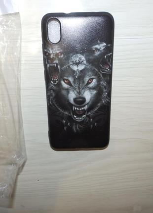 Дизайнерский силиконовый чехол , бампер xiaomi redmi 7a волки