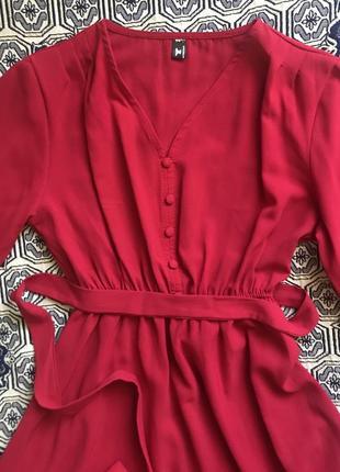 Красное платье миди 8-е марта