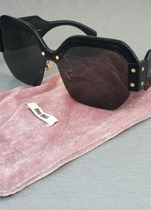 Miu miu очки женские солнцезащитные черные большие стильные
