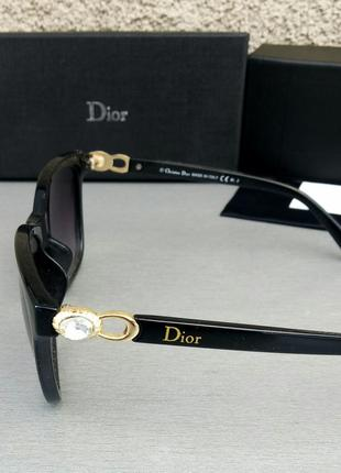 Christian dior очки женские солнцезащитные черные с камнями4 фото