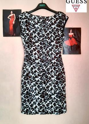 Шикарное вечернее, коктейльное мини платье с пайетками от guess xs