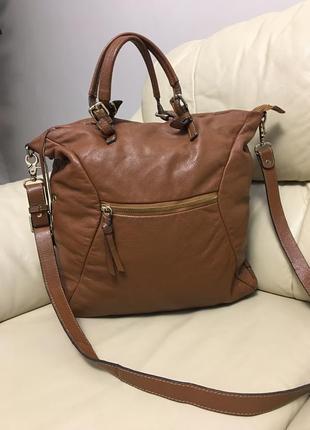 Шикарная кожанная сумка шоппер италия