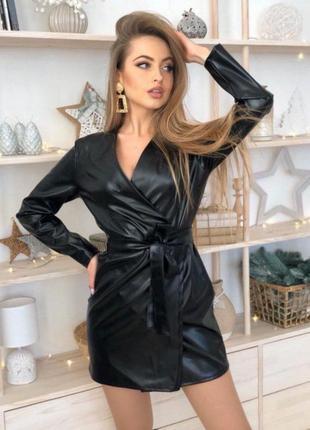 Платье кожаное эко кожа на запах платье рубашка