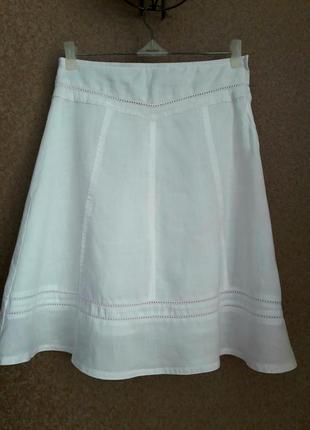 Белая юбочка лен