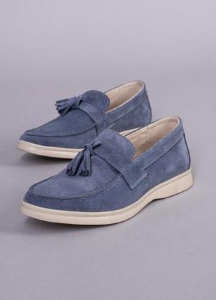 Туфли лоферы замшевые голубого цвета на низком ходу