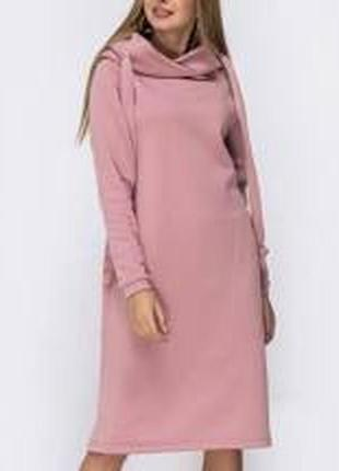 Женское худи платье с капюшоном на флисе