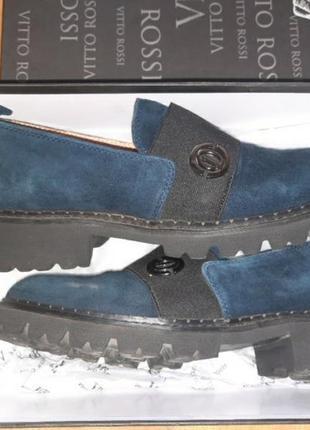 Туфли лоферы натуральная кожа и замш