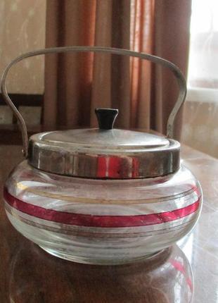 Сахарница винтажная стеклянная
