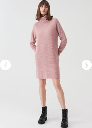 Подовжений джемпер туника платье сукня oversize із коміром-гольф