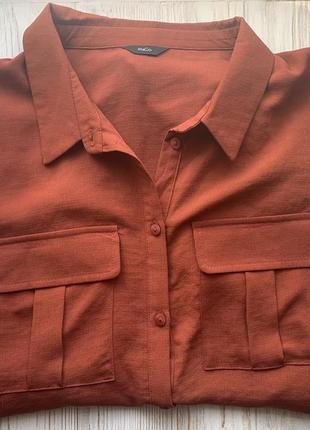 Блуза-рубашка коричневого цвета