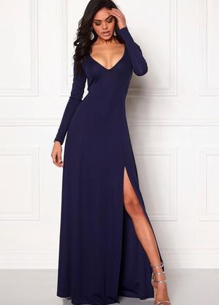 Филетовое платье макси в пол с разрезом make way