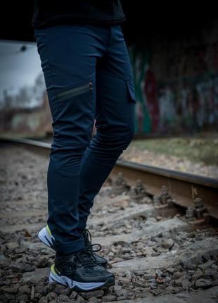 Теплые штаны карго синие conqueror intruder + подарок ключница
