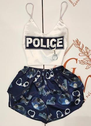 Женская сексуальная пижама, шелк армани, с принтом полиция, топ и шортики