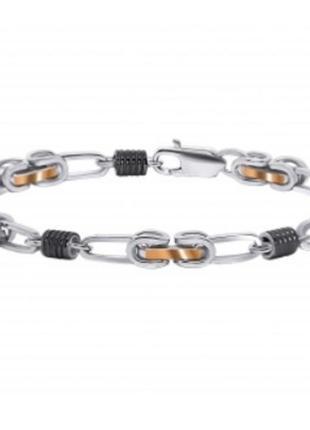 Золотой  браслет масивные цепи тренд, серебряный браслет, масивный браслет