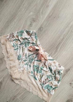 Персиковые пижамные шортики шорты пижама с кружевом1 фото