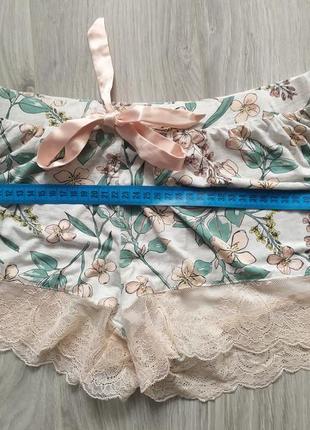 Персиковые пижамные шортики шорты пижама с кружевом3 фото