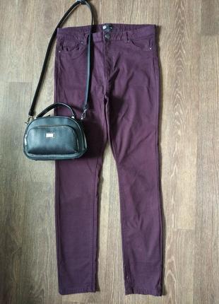 ❤️завышеные брюки джинсы облегающие скинни бурячного цвета