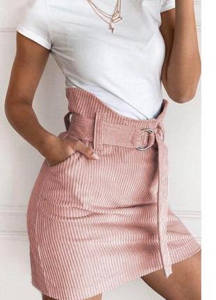 Женская вильветовая юбка с высокой талией
