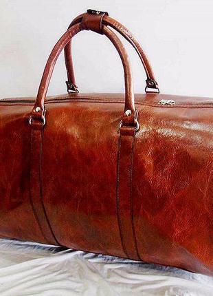 Богатая коричневая дорожная сумка ручная кладь эко кожа сумка ручна поклажка без предоплат