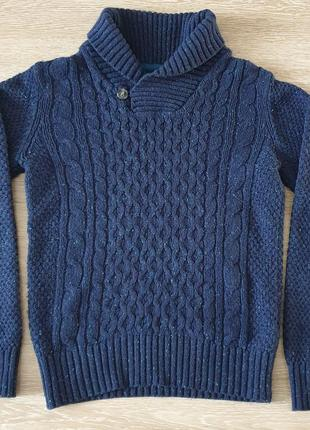 Вязаный стильный синий свитер h&m на подростка мальчика 8-10 лет