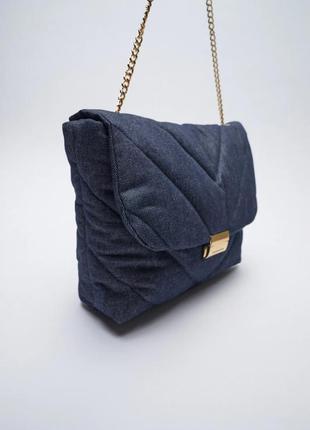 Новая культовая джинсовая сумка пельмень объемная кроссбоди zara