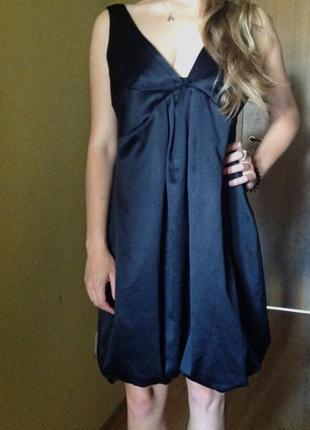 Черное нарядное платье атласное new look сукня