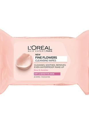 Салфетки для снятия макияжа l'oreal paris fine flowers cleansing wipes для сухой кожи