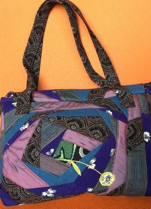 Сумка текстильная ручной работы hand made на подкладке и с внутренними карманами