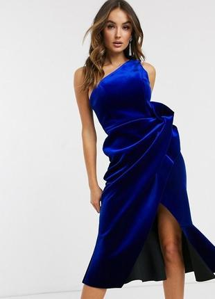 Бархатное платье миди на одно плечо asos design