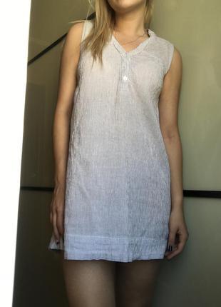 Летнее короткое повседневное платье рубашка котон
