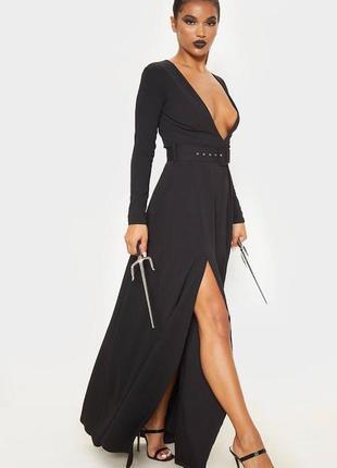 Длинное черное платье макси с разрезом