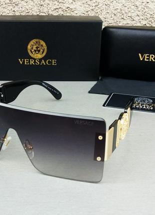 Versace очки маска женские солнцезащитные черные с золотым логотипом