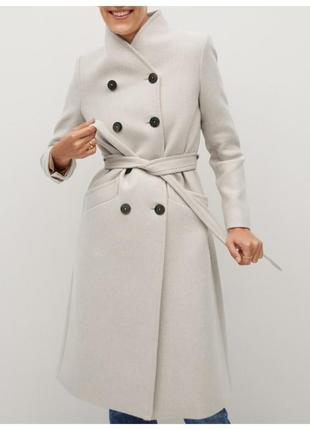 Mango оригинал двубортное пальто из итальянской шерсти mantecо экрю