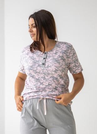 Хлопковый комплект для дома и сна пижама футболка и капри с цветами бриджи батал2 фото