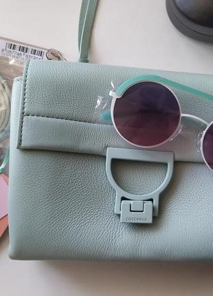 Новая сумка coccinelle кожа мятный цвет кроссбоди съёмные ручки (короткая, длинная)4 фото