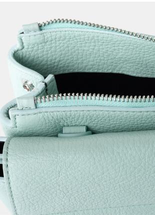 Новая сумка coccinelle кожа мятный цвет кроссбоди съёмные ручки (короткая, длинная)6 фото