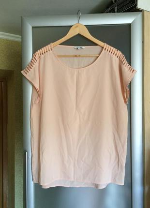 Нюдовая персиковая футболка с разрезами на плечах от new look