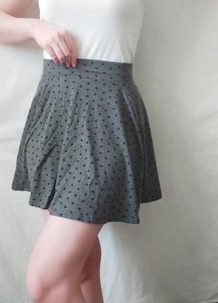 Юбка солнце / серая юбка / короткая юбка / юбка в сердце