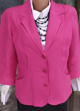Летний пиджак 100%лен льняной фуксия
