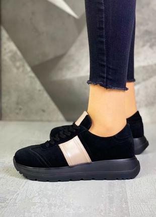 Черные кроссовки замша