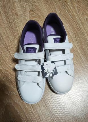 Кроссовки белые на липучках с фиолетовым lonsdale leyton white/purple