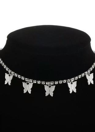Цепочка с бабочками цепь винтаж с камнями колье ожерелье чокер блестящий