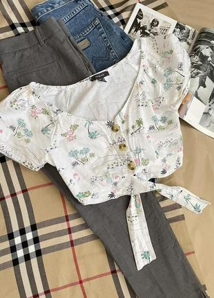 Крутые серые укороченные брюки +топ в подарок