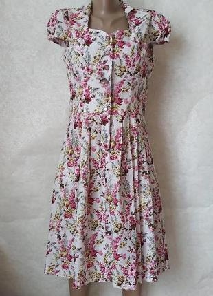 Невероятно красивое летнее платье миди со 100 % хлопка в мелких розах, размер л-ка