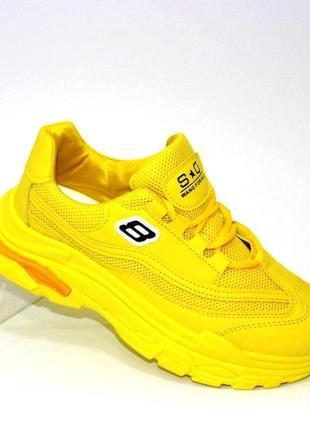 Яркие жёлтые кроссовки 1805-yellow
