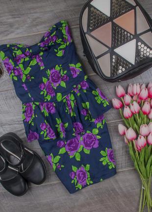 Платье бюстье хлопковое с баской от motel размер uk 8 наш р. 42