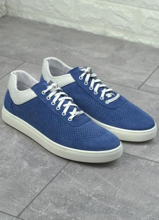 Легкие кеды замшевые летние синие перфорация женская обувь больших размеров rosso avangard