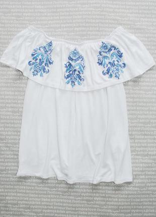 Топ футболка с вышивкой оборкой воланом спущенные открытые плечи белая купить цена