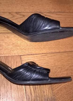 Кожаные шлепанцы на каблуке, rylko, размер 36